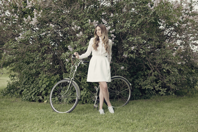 Carolynn Lacasse and her bicycle for Ottawa Velo Vogue